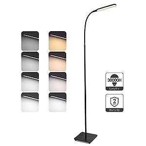 TaoTronics Stehlampe LED Dimmbar 10W Stehleuchte für Wohnzimmer Schlafzimmer, hohe 50.000 Stunden Lebensdauer, 4 Farbtemperaturen, 4 Helligkeitsstufen, Flexibler Schwanenhals, Schwarz