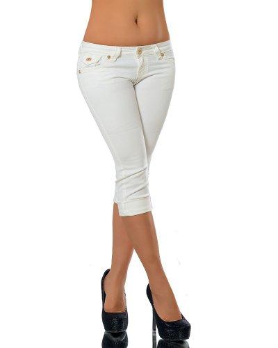 K900 Damen Capri Jeans Hose Damenjeans Caprihose Caprijeans Bermuda Dicke Naht, Farben:Weiß;Größen:42 (XL) (Damen-capri-hosen)