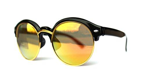 50er 60er Jahre Retro Vintage Sonnenbrille Sommerbrille Clubmaster Style Rockabilly Trend 2017 2018 Mode Fashion Fashionbrille Beach Club Designer Brille rund schwarz revo orange sunlight