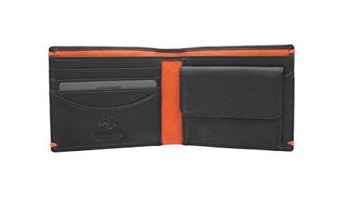 Portafoglio in Pelle Collezione MONTREUX Visconti Alpine Blocco RFID AP62 Nero/Arancione