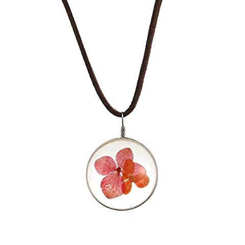 Tinksky Halskette mit Anhänger Damen Leder Ketten getrocknete Blütenblatt Kette