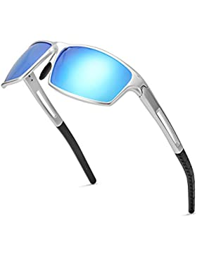 Gafas De Sol Hombre Deportivas Espejo Polarizadas Anti Reflectante Ultraligero Metal Protección 100% UVA UVB
