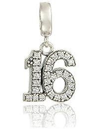 Sweet 16regalos para niñas pendientes de colgante de plata S925
