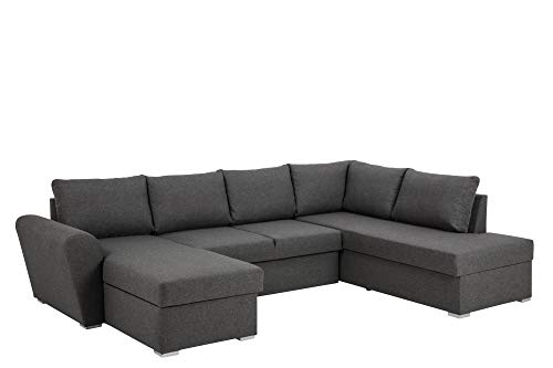 Links Chaiselongue Couch (PKline Sofa Stefan Ecksofa mit Chaiselongue Links grau Couch Wohnlandschaft Polstersofa)