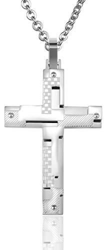 Abellale Edelstahl Halsketten, Kettenanhänger Herren Checker Diagonal Puzzle Kreuz 53X35MM Silber, Kostenlose Gravur Diagonale Checker