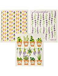 Wet-It Schwedische Geschirrtuch Set von 3(Lavendel, Kräutertöpfe, Pastell Dreiecke) - Lavendel Geschirrtücher