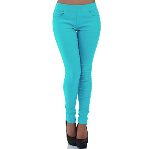malucas Damen Hose Stoffhose Stretch Röhre Skinny Leggings Jeggings Treggings Leggins Slim Fit, Größe:40, Farbe:Hellblau