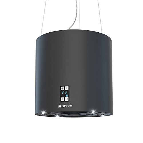 Bergstroem Design Inselhaube Dunstabzugshaube freihängend Deckenhaube matt Schwarz