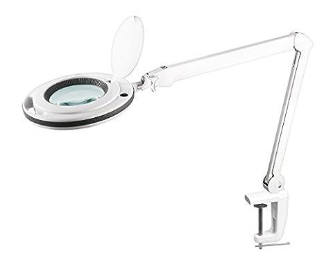 KEMOT nar0461, lampe d'atelier avec loupe, lumière, 5D, 10cm, 5W 60LED, verre, blanc
