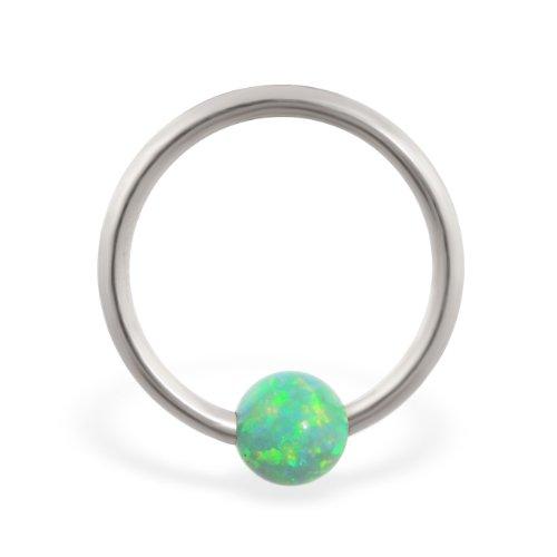 14K Gold Captive Bead Ring mit grün Synthetische Opal Ball, Gauge: 16(1.2mm)