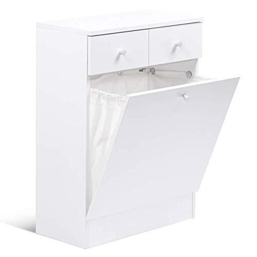IDMarket - Meuble avec bac à linge intégré en bois blanc