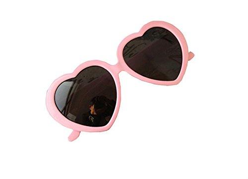 (kingwin Fashion Frauen Blatt Love Herz Sonnenbrille Kunststoff Gläser–Pink)