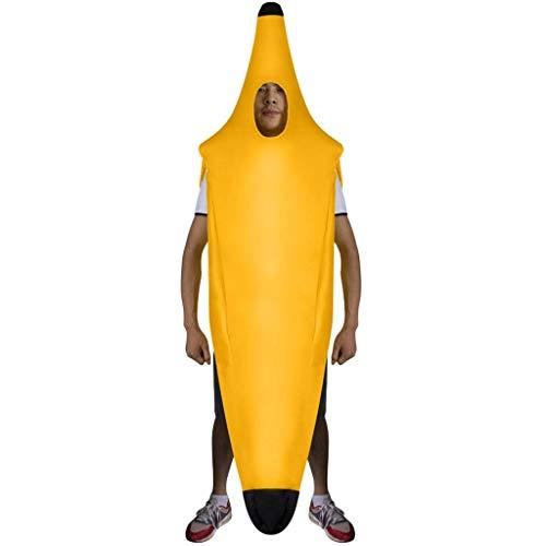 xmansky Bananenkostüm Kostüm für Erwachsene Faschingskostüme Männer Banane Bananenanzug Fasching Bananen Frucht Obst Anzug Bodysuit Karnevalskostüme