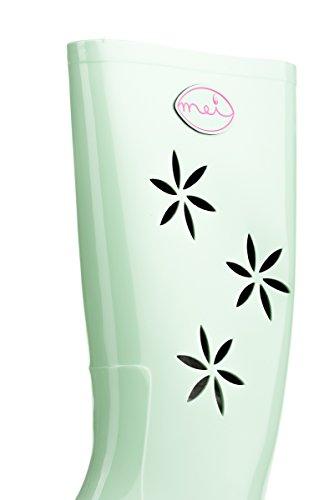 MEI LA Damens Original Perforierte Blumen 363 Gummistiefel Grün