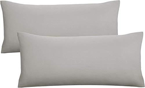biberna 77144 Jersey-Kissenhüllen, 100 % Baumwolle mit Reiߟverschluss, 2er-Pack 40x80cm, sturmgrau