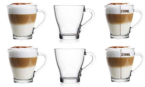 EVER RICH ® Taza de café con té de Vidrio con Leche con Leche (para Tassimo y Dolce Gusto) Juego de 6 Vasos (250ML)