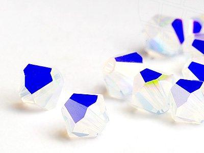 Swarovski Glasperlen zum Auffädeln Elements Doppelkegel 3mm (White Opal-AB), 96 Stück