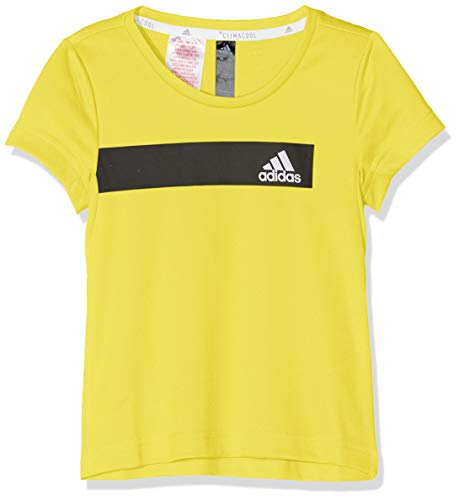 Recycle Jungen Mädchen T-shirt (adidas Kinder Cool Kurzarm Shirt, Shock Yellow, 128)