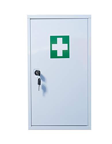 Stahl Verbandschrank mit Verbandmaterial Erste Hilfe Kasten Medizinschrank Verbandschrank Stahlblech mit Füllung DIN 13157 abschließbar 620260