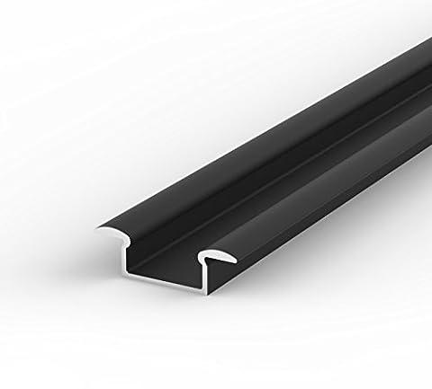SET: LED Profil, 100cm Profil LED für LED Streifen, aluminium led profil LT6 + Abdeckung (Schwarz,