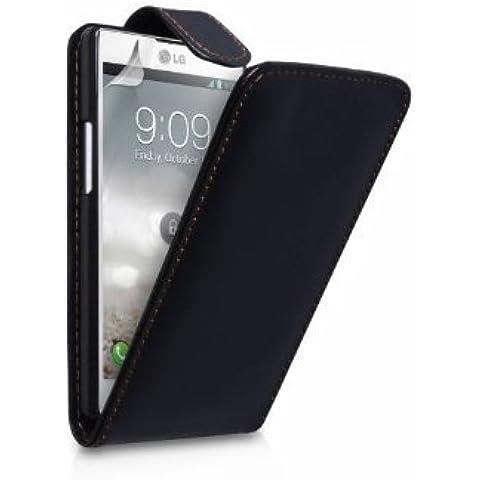 Funda de piel Negro para LG Optimus L9 + 2 Protectores de Pantalla