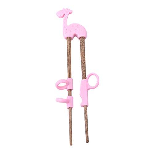 Gluckliy Kind Essstäbchen für Anfänger Chopsticks,Baby Trainings Stäbchen Holz Kinder Senioren Chopsticks und Silikon Übung Training Werkzeuge (Rosa Giraffe)