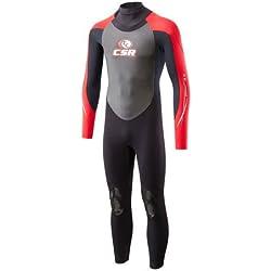 Soles Up Front neopreno 3mm de longitud completa. Adulto Mens Wet Suit. Disponible en una amplia gama de tamaños. Perfecto para hacer Surf, nadar o montar en canoa o kayak., rojo