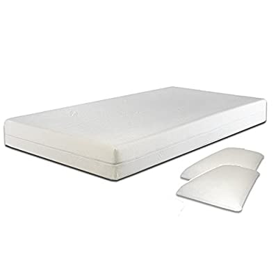 4ft Small Double Black Ottoman Lift Up Storage Faux Leather Bed + 8 Inch Deep Memory Foam Mattress + FREE Memory Foam Pillows - Also available in Brown or White - Master Bedroom Childrens Bedroom Teens Bedroom Guest Bedroom - Perfect for storing Shoes DVD's Bedding Clothes