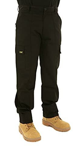 Mens Multi Pocket Action Cargo Work Trousers Sizes 28 to 52 Black or Navy 50 Waist / 29