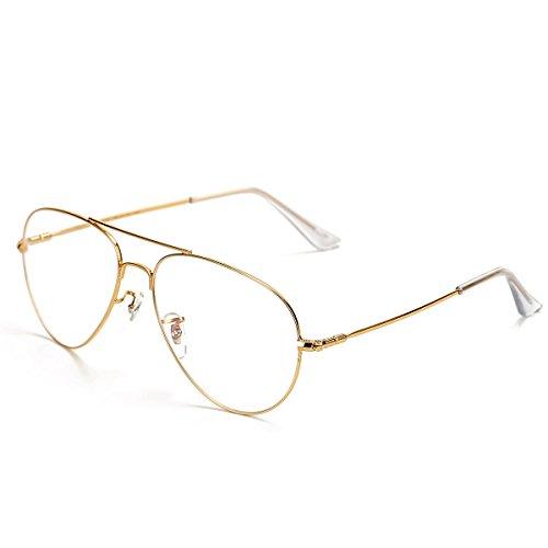 Pro Acme Pilotenbrille mit transparenten Gläsern, Memory-Titan-Gestell Gr. L, gold (Brillengestelle Für Männer Titan)