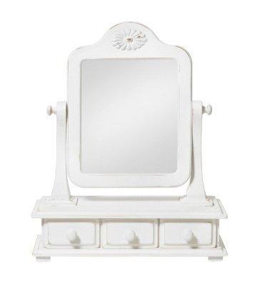 Dondolino con specchio e tre cassetti in legno bianco stile vintage L'ARTE DI NACCHI 4996/BG