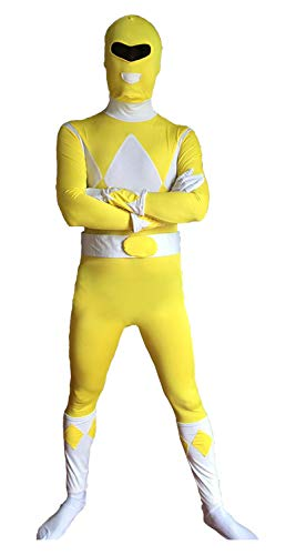 Power Yellow Kostüm Ranger - FYBR Yellow Power Ranger SuperSkin Costume - Adult Unisex Men & Women Second Skin | Zentai Onesie Clothing Outfit Halloween Lycra (Small)