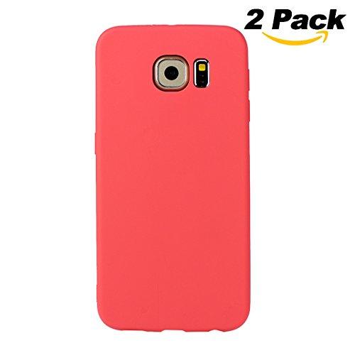 Galaxy S6 Hülle Dünn Silikon, Asnlove 2 Pack Handy Schutzhülle für Samsung Galaxy S6 Hülle TPU Silikon Backcover Case Handytasche Einfarbig Telefon-Kasten Tasche Schutz Cover Design Rot