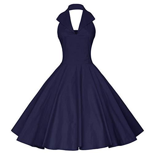 Kleider Damen Kleid 1950er Vintage Brautjungfernkleid Petticoat Ballkleid Hepburn Cocktailkleid Rockabilly Weihnachten gedruckt Halter ärmelloses Abend Party Prom Swing Dress(12,Small)