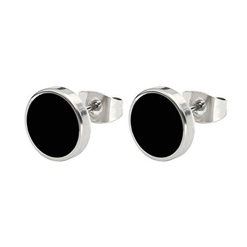 BeyDoDo Modeschmuck 1 Paar Edelstahl Ohrringe Herren Damen 10MM Ohrstecker Ohrringe Schwarz Silber