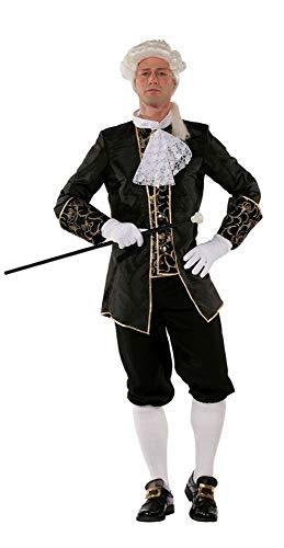 shoperama Marquis Herren Barock Rokoko Kostüm TAFT Anzug GRAF Adliger französisch Renaissance de Sade Karneval, Farbe:Schwarz, Größe:56