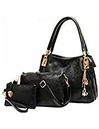 Tradico® Women Leather Handbags Handbag+Messenger Bag+Purse 3 Sets(Black)