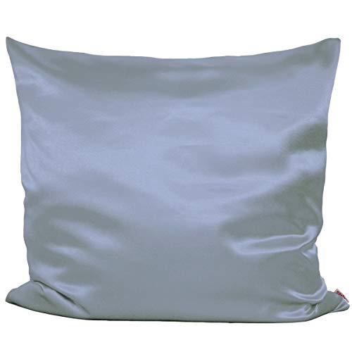 beties Glanz Satin Kissenbezug 80x80 cm Hausmittel gegen Gesichtsfalten 100% Polyester (wählen Sie Ihren Bettbezug + Spannbetttuch extra dazu) Farbe Silber grau