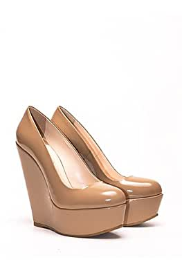 poletto high heel wedges nude lack schuhe. Black Bedroom Furniture Sets. Home Design Ideas