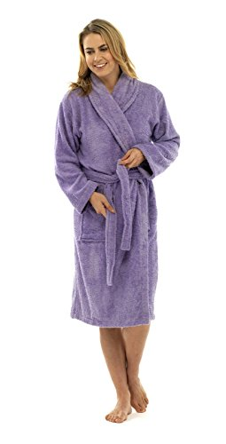 - 31UKRWFb5LL - Womens Pure 100% Cotton Luxury Terry Towelling Bath Robes Dressing Gowns Housecoat + Belts Pockets Nightwear Loungewear Ladies Girls Size UK 6-16