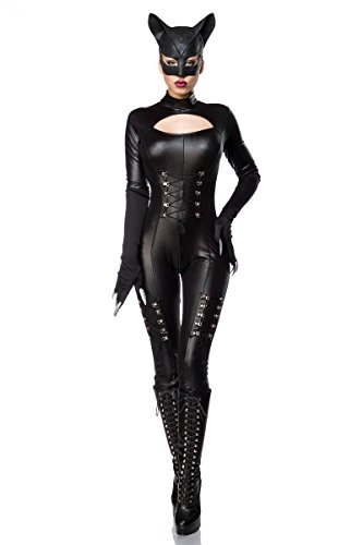 Sexy Catwoman Kostüm Cat Woman Superheld Held Heldin Schwarz Set Karneval S-3XL, ()