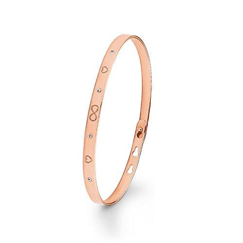Noelani Damen Armreif Infinity Herzen Liebe Symbole rosévergoldet veredelt mit Swarovski Kristallen, Breite ca. 4 mm