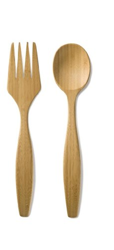 Bambu Salad Servers Fork & Spoon, Set of 2, Golden Brown [Kitchen] (japan import)