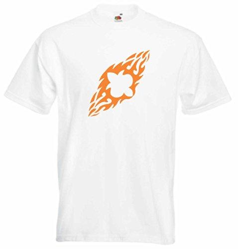T-Shirt Herren Wirbel Flügel feuer Weiß