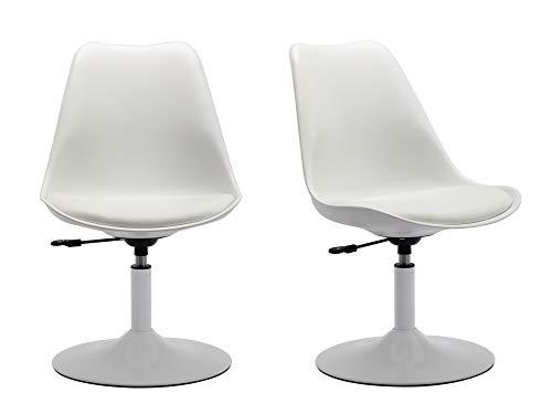 Duhome 2X Konferenzstuhl Weiß Kunststoff Kunstleder Drehstuhl Schreibtischstuhl drehbar ergonomisch Retro Design Bürostuhl Besucherstuhl höhenverstellbar Farbauswahl 518Q