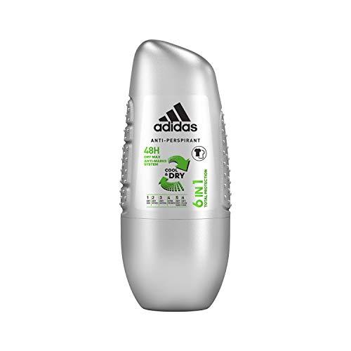 adidas 6-in-1 Deo Roller für Herren - Erfrischendes Antitranspirant gegen Schweißgeruch, Achselnässe, weiße Flecken, gelbe Verfärbungen & Bakterien - pH-hautfreundlich - 1 x 50ml - Adidas Deo-antitranspirant