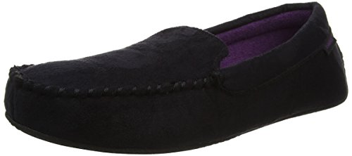 Isotoner Moccasin Driving Sole Slippers, Chaussons Homme, Noir (Black), 43-44 EU (8.5-9.5 UK)