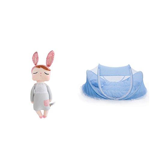 perfeclan Faltbares Bett Krippenspiel Schatten Reise Moskito Zelt Für Baby Mit Plüsch Puppen (Reise-baby-puppe)