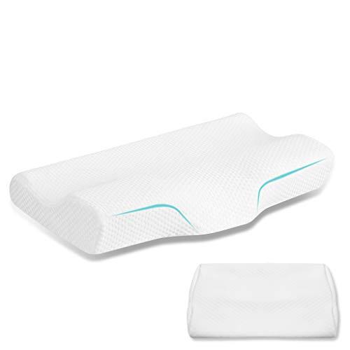 Emolli cuscino ortopedico cervicale schiuma di memoria + 2 federe, cuscino terapeutico ergonomico per dolori a collo e cervicali, federa ipoallergenica lavabile rimovibile, 50 x 30 x 10 cm