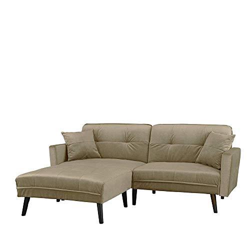 Barbara–divano- letto angolare 3posti,velluto, diversi colori,200x 158x 86cm contemporaneo beige